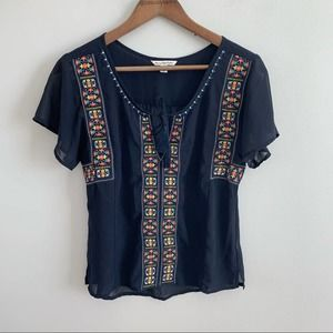 American Eagle | Blue Navy Sheer Embroidered Top S